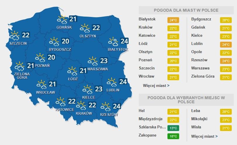 Prognoza pogody na czwartek, 27 lipca /INTERIA.PL