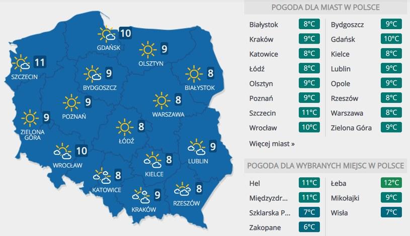 Prognoza pogody na czwartek, 5 listopada /INTERIA.PL