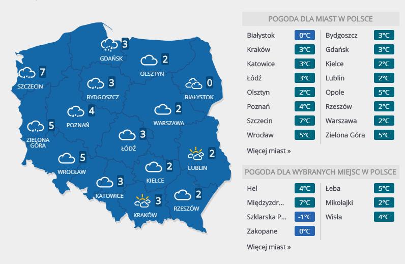 Prognoza pogody na czwartek, 6 grudnia /INTERIA.PL