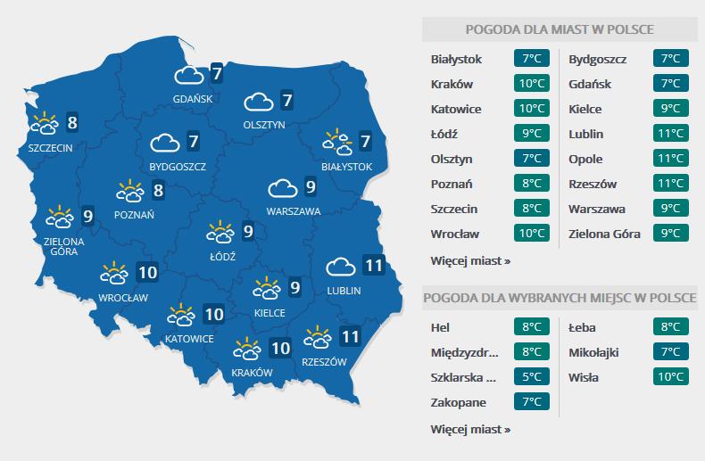 Prognoza pogody na czwartek, 9 listopada /Interia.pl /