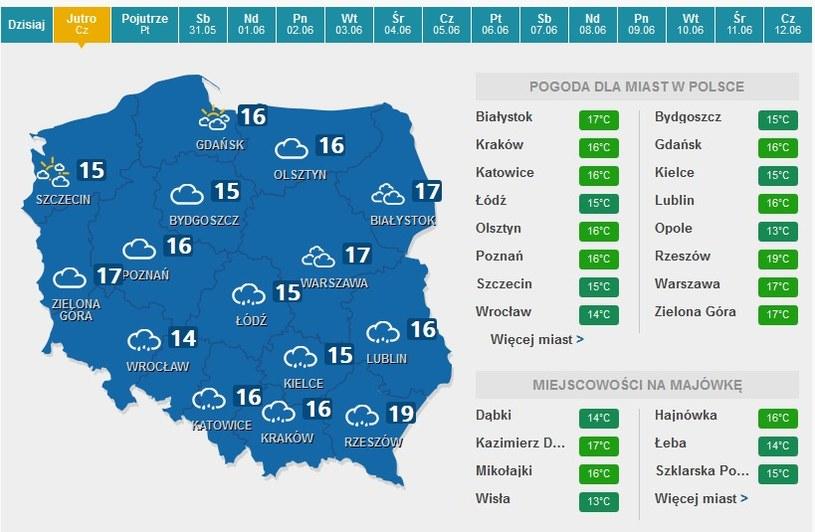 Prognoza pogody na czwartek /pogoda.interia.pl /INTERIA.PL