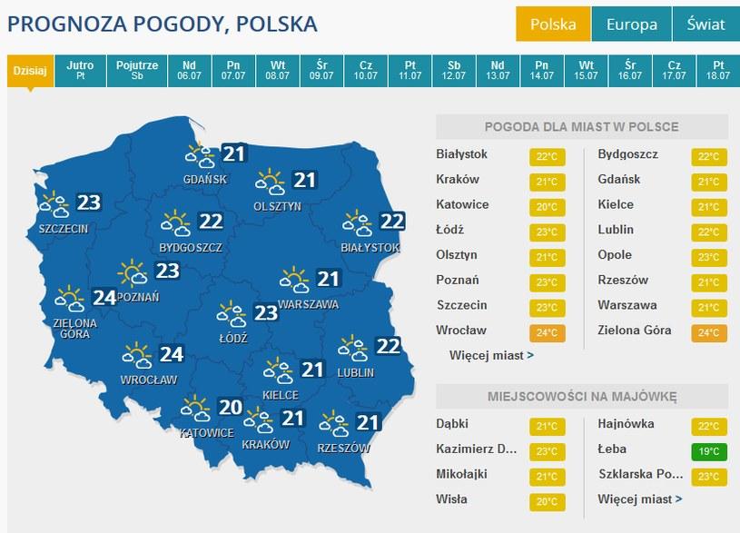 Prognoza pogody na czwartek /INTERIA.PL