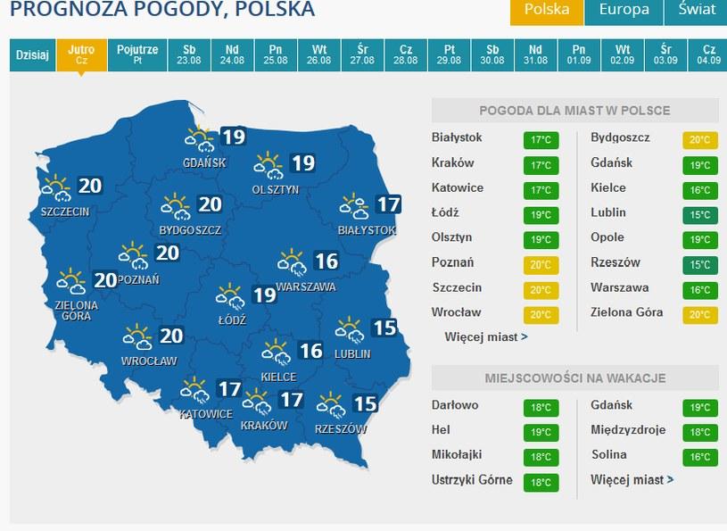 Prognoza pogody na czwartek. /INTERIA.PL