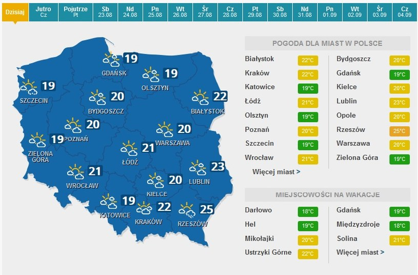 Prognoza pogody na dziś. /INTERIA.PL