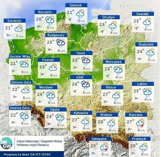 Prognoza pogody na dzisiaj /IMGW-PIB / pogodynka.pl /