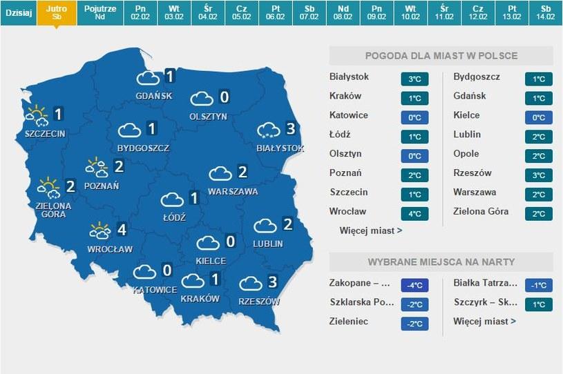 Prognoza pogody na jutro /INTERIA.PL