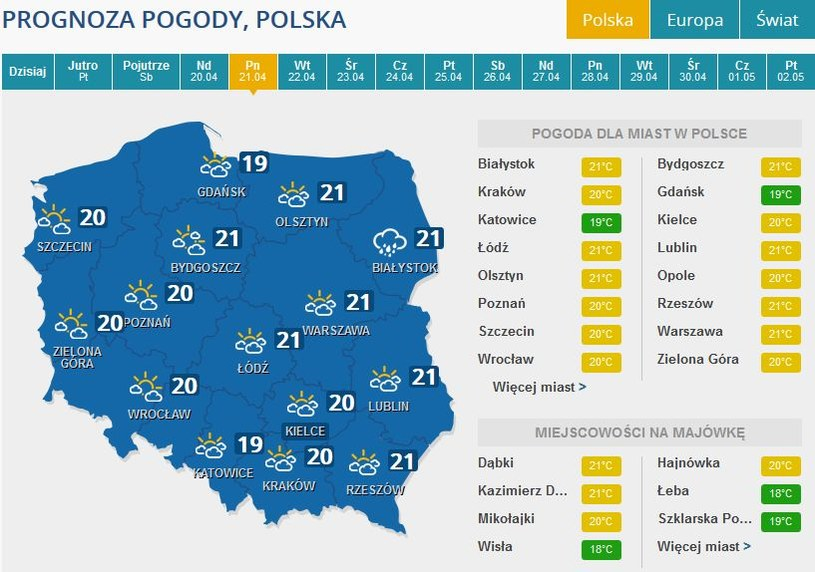 Prognoza pogody na Lany Poniedziałek /INTERIA.PL