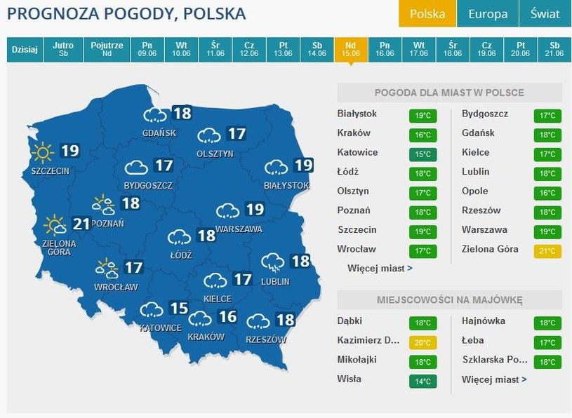 Prognoza pogody na niedzielę, 15 czerwca /INTERIA.PL