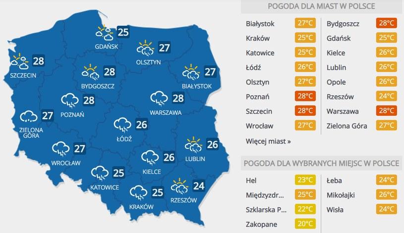 Prognoza pogody na niedzielę, 19 lipca /INTERIA.PL