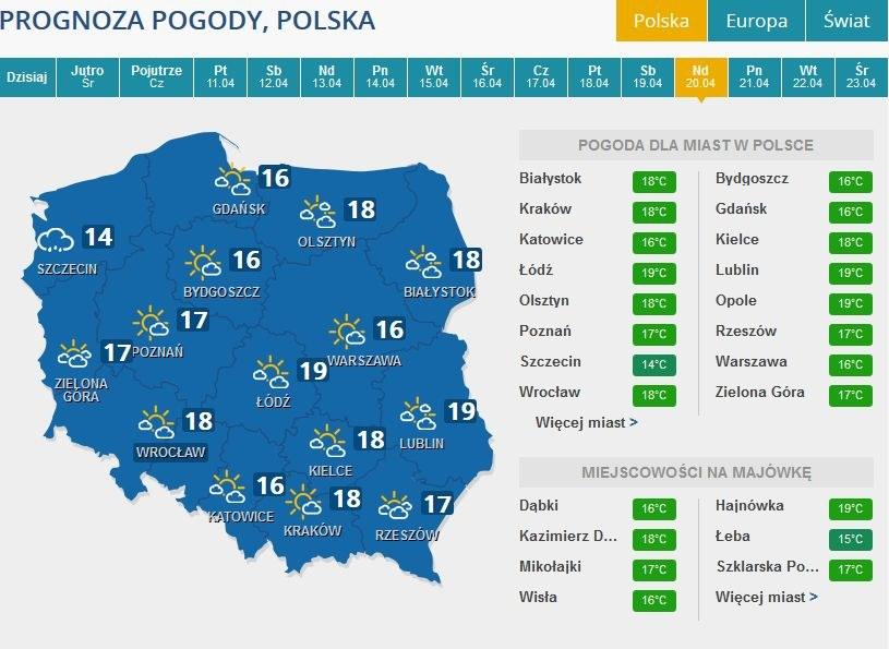 Prognoza pogody na niedzielę, 20 kwietnia /INTERIA.PL