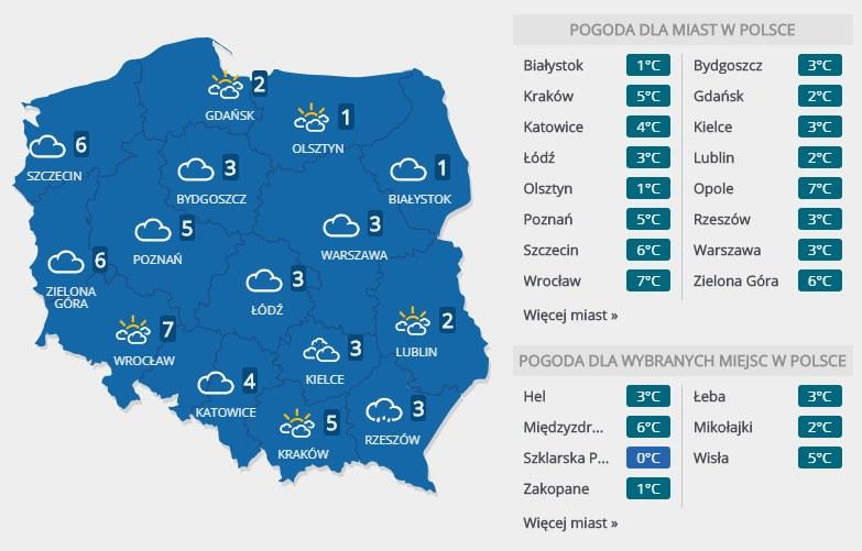 Prognoza pogody na niedzielę, 23 grudnia /INTERIA.PL