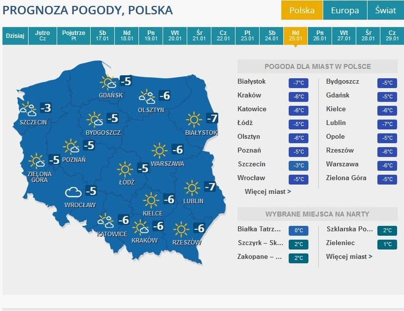 Prognoza pogody na niedzielę, 25 stycznia /INTERIA.PL