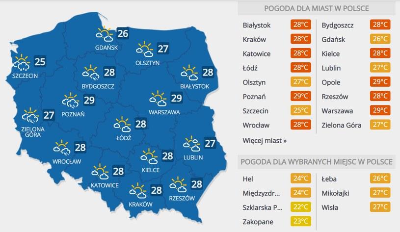 Prognoza pogody na niedzielę, 26 lipca /INTERIA.PL