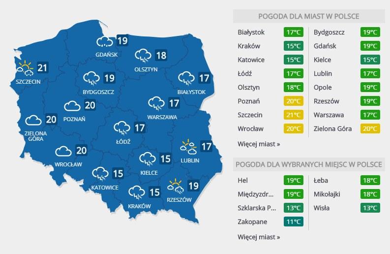 Prognoza pogody na niedzielę, 26 sierpnia /INTERIA.PL