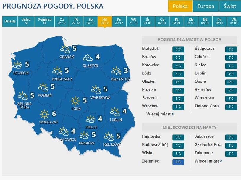 Prognoza pogody na niedzielę, 29 grudnia /INTERIA.PL