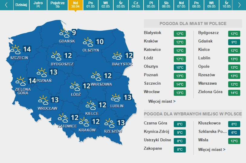 Prognoza pogody na niedzielę, 30 kwietnia /INTERIA.PL