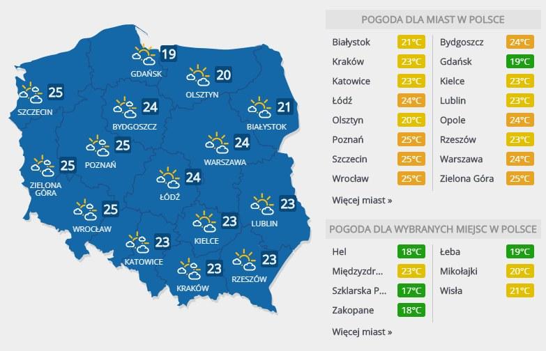 Prognoza pogody na niedzielę, 4 sierpnia /INTERIA.PL