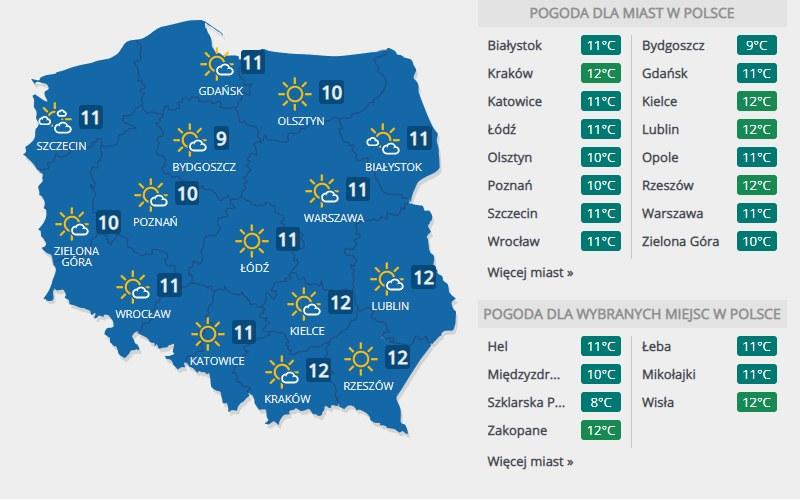 Prognoza pogody na niedzielę (8 listopada) /INTERIA.PL