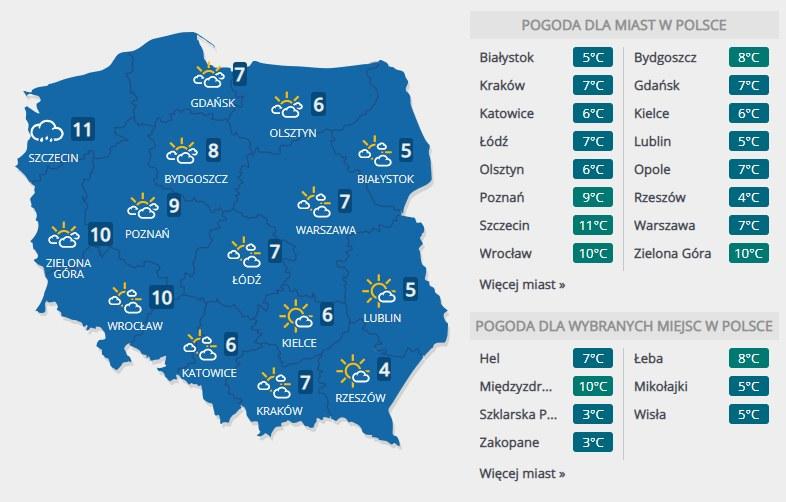 Prognoza pogody na niedzielę, 9 lutego /INTERIA.PL