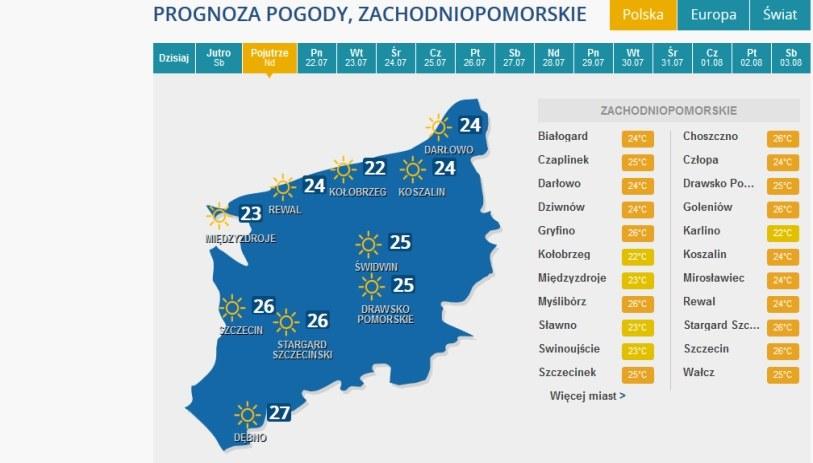 Prognoza pogody na niedzielę dla woj. zachniopomorskiego /INTERIA.PL