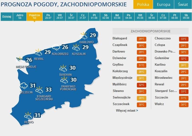Prognoza pogody na niedzielę dla woj. zachodniopomorskiego /INTERIA.PL