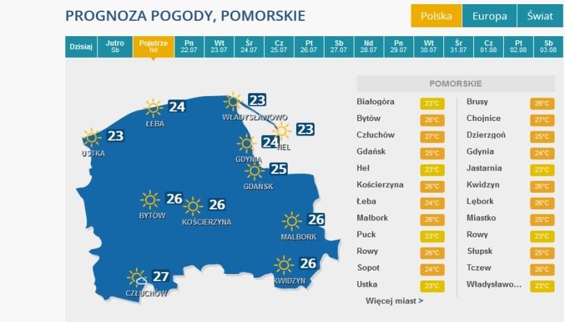 Prognoza pogody na niedzielę dla województwa pomorskiego /INTERIA.PL