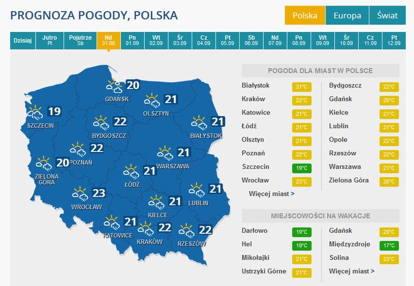 Prognoza pogody na niedzielę. /INTERIA.PL