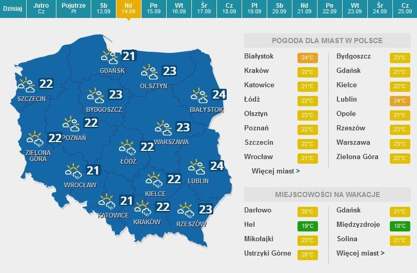 Prognoza pogody na niedzielę /pogoda.interia.pl /AFP
