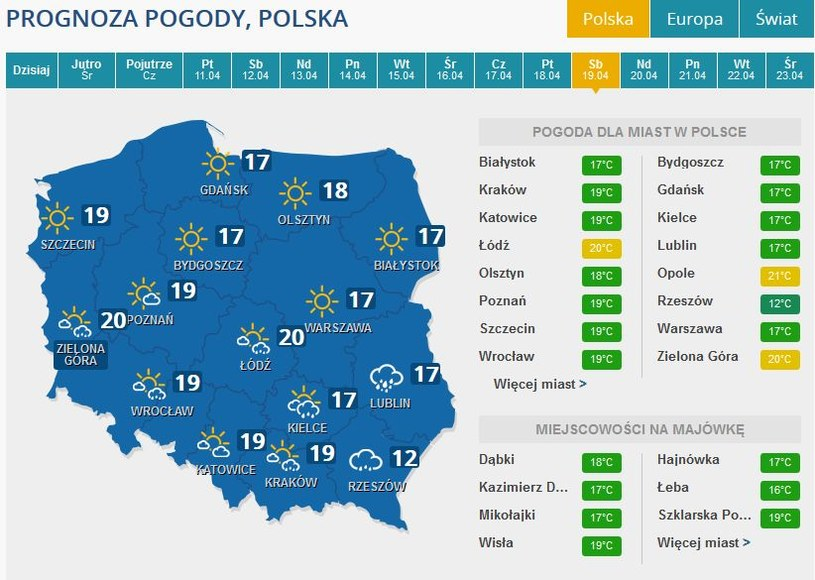 Prognoza pogody na obotę, 19 kwietnia /INTERIA.PL