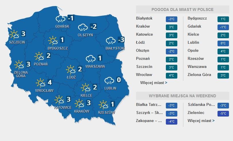 Prognoza pogody na piątek, 08.01.2016 /INTERIA.PL