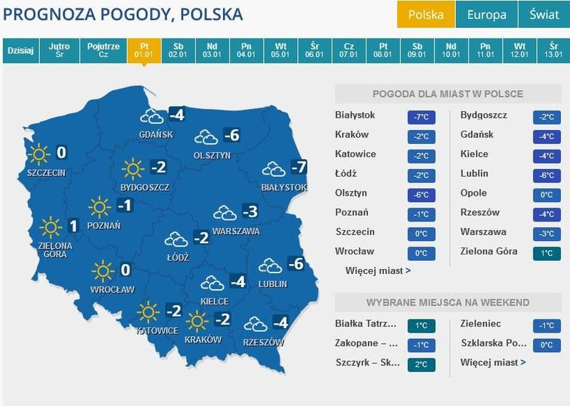 Prognoza pogody na piątek, 1 stycznia /INTERIA.PL