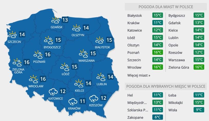 Prognoza pogody na piątek, 15 maja /INTERIA.PL