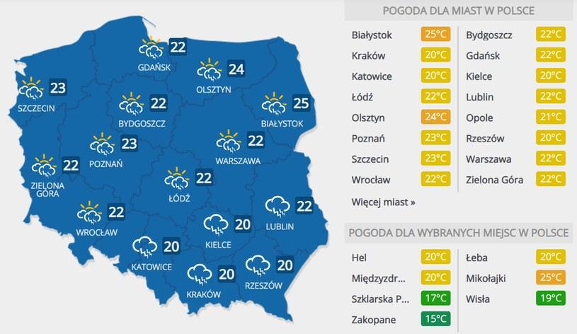 Prognoza pogody na piątek, 17 lipca /INTERIA.PL