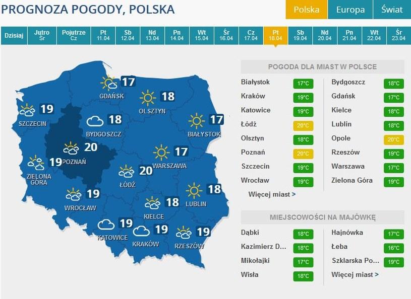 Prognoza pogody na piątek, 18 kwietnia /INTERIA.PL