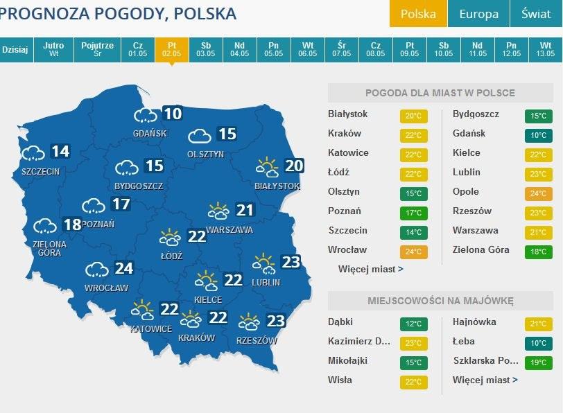 Prognoza pogody na piątek, 2 maja /INTERIA.PL