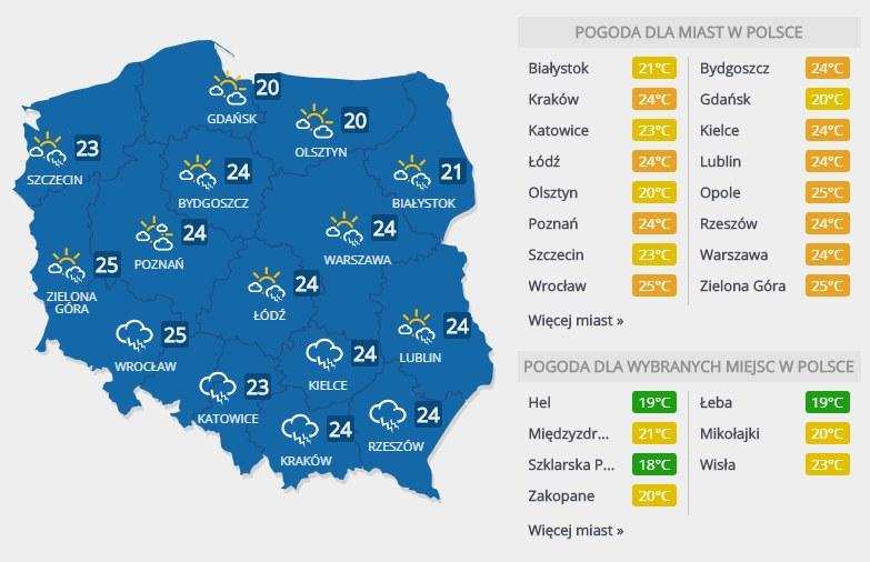 Prognoza pogody na piątek, 2 sierpnia /INTERIA.PL