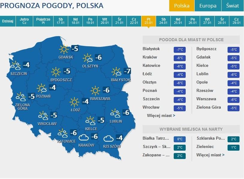 Prognoza pogody na piątek, 23 stycznia /INTERIA.PL