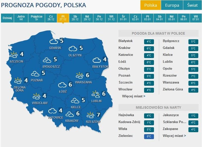Prognoza pogody na piątek, 27 grudnia /INTERIA.PL
