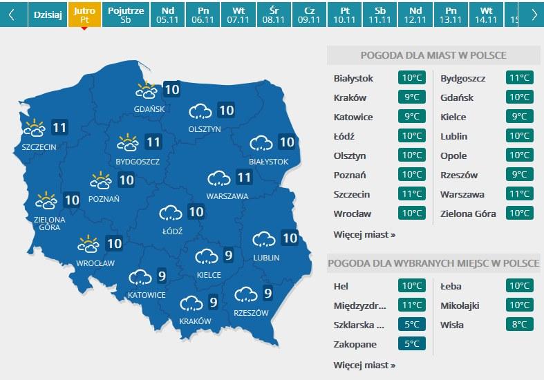 Prognoza pogody na piątek 3.11 /INTERIA.PL