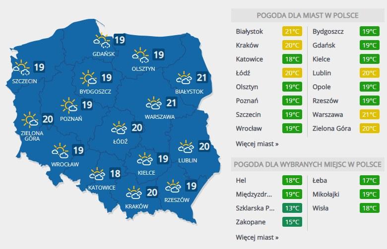 Prognoza pogody na piątek, 6 września /INTERIA.PL