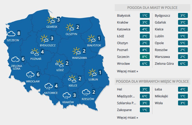 Prognoza pogody na piątek, 7 lutego /INTERIA.PL