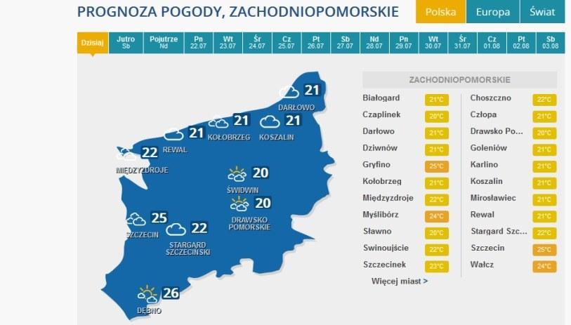 Prognoza pogody na piątek dla woj. zachodniopomorskiego /INTERIA.PL