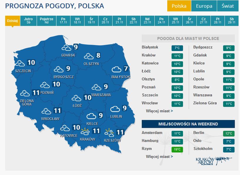 Prognoza pogody na piątek /INTERIA.PL