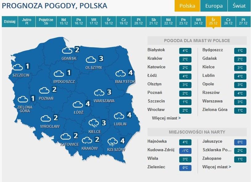 Prognoza pogody na pierwszy dzień świąt /INTERIA.PL