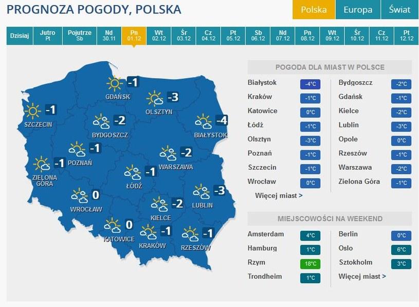 Prognoza pogody na poniedziałek, 1 grudnia /INTERIA.PL
