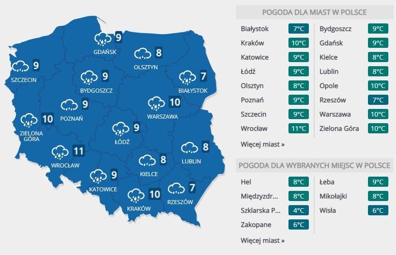 Prognoza pogody na poniedziałek, 10 lutego /INTERIA.PL