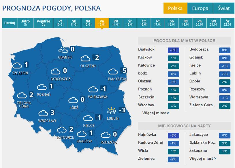 Prognoza pogody na poniedziałek 13 stycznia /INTERIA.PL