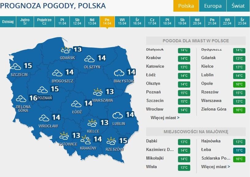 Prognoza pogody na poniedziałek, 14 kwietnia /INTERIA.PL