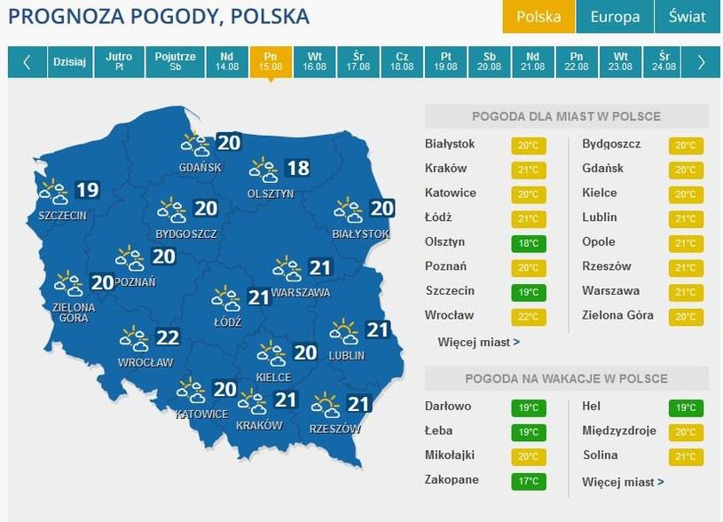 Prognoza pogody na poniedziałek, 15 sierpnia /INTERIA.PL
