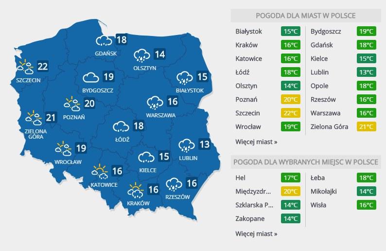 Prognoza pogody na poniedziałek, 2 lipca /INTERIA.PL